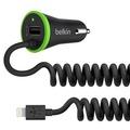 Belkin Dual Car Charger 2,4A (fixes Lightning Kabel), Schwarz