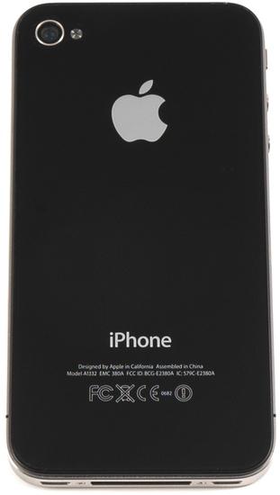 Apple iPhone 4, 8GB, schwarz - Rückseite (liegend)