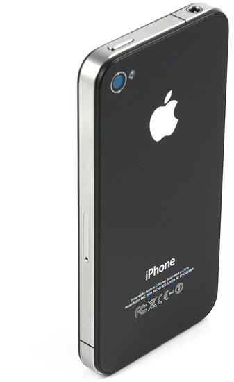 Apple iPhone 4, 8GB, schwarz - Rückseite (perspektivisch)