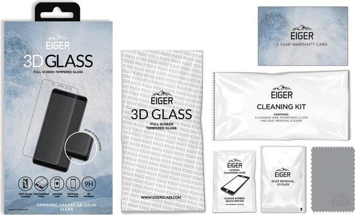 Eiger 3D E2E/Full Front Screen Protector Glass, Samsung Galaxy A8 (2018), clear -