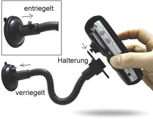 Eixo Fahrzeughalter (Car Mount) mit Saugnapf und Schraubknopf für Eixo Ledertaschen - Beispiel für Funktionsweise