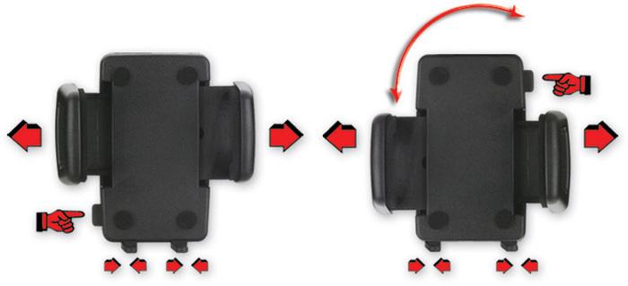 HR Auto-Comfort Smartphone-Halter inkl. Swivel Stop Befestigungssystem für die Lüftung - Verstellmöglichkeiten