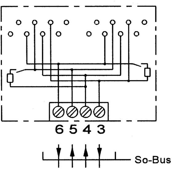 ZE Kom ISDN-Anschlussdose (doppelt) mit schaltbarem Widerstand, Aufputz - Schaltplan