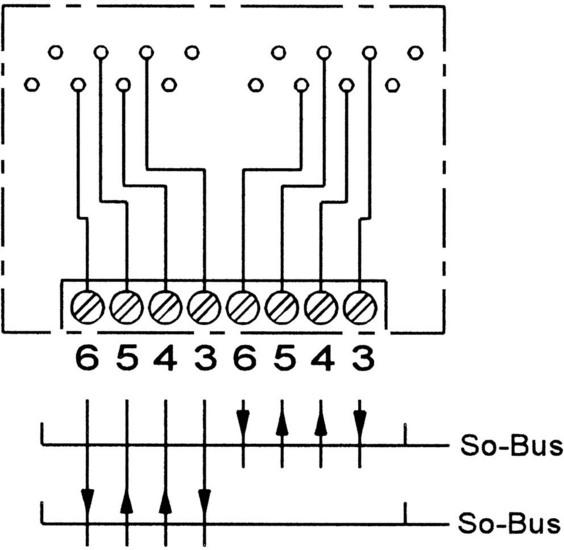 ZE Kom ISDN-Anschlussdose (doppelt, getrennt beschaltbar), Aufputz - Schaltplan