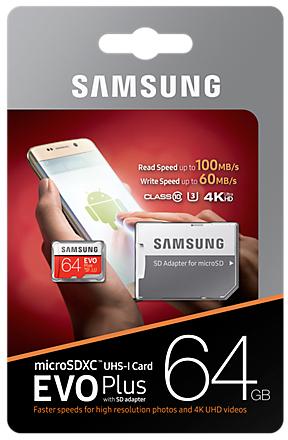 Samsung EVO Plus microSD Karte 64 GB, Class10 (2017) (SD Adapter) -