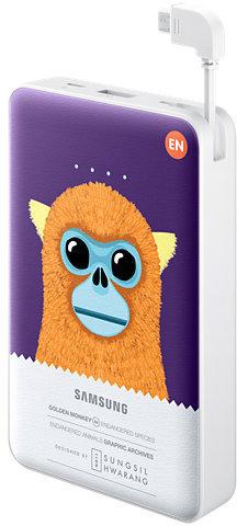 Samsung externer Akkupack 11.300 mAh 2A Micro-USB-Kabel/USB-Port, violet, Monkey -