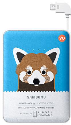 Samsung externer Akkupack 8.400mAh 2A Micro-USB-Kabel/USB-Port, blue, Panda