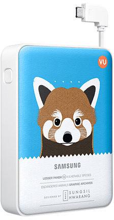 Samsung externer Akkupack 8.400mAh 2A Micro-USB-Kabel/USB-Port, blue, Panda -