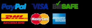 Zahlung per Kreditkarte, per Paypal, per Rechnung, per Nachnahme