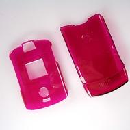 Strax Oberschale Click-On Motorola V3 rot transparent