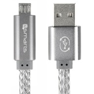 4smarts GleamCord + Charge Notice Micro-USB Datenkabel 15cm grau