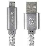4smarts GleamCord + Charge Notice Micro-USB Datenkabel 15cm grau