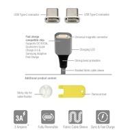 4smarts Magnetisches USB-Kabel GRAVITYCord 2.0 1m grau + Zwei USB Typ-C Stecker