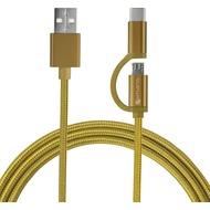 4smarts Micro-USB & USB Typ-C Kabel ComboCord 1m textil - gold