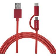 4smarts Micro-USB & USB Typ-C Kabel ComboCord 1m textil - rot