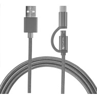 4smarts Micro-USB & USB Typ-C Kabel ComboCord 2m textil - grau