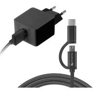4smarts Netzladegerät VoltPlug 12W mit Micro-USB & USB Typ-C-Kabel 1,5m - schwarz