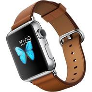 Apple Watch 38 mm Edelstahlgehäuse mit klassischem Lederarmband in sattelbraun