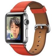Apple Watch 38 mm Edelstahlgehäuse mit klassischem Lederarmband in rot