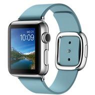 Apple Watch 38 mm Edelstahlgehäuse mit modernem Lederarmband in eisblau - medium