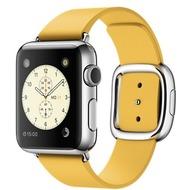 Apple Watch 38 mm Edelstahlgehäuse mit modernem Lederarmband in gelborange - medium