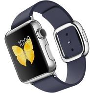 Apple Watch 38 mm Edelstahlgehäuse mit modernem Lederarmband in mitternachtsblau - large