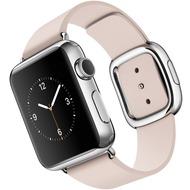 Apple Watch 38 mm Edelstahlgehäuse mit modernem Lederarmband in zartrosa - large