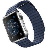 Apple Watch 42 mm Edelstahlgehäuse mit Lederarmband mit Schlaufe in mitternachtsblau - medium