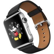 Apple Watch 42 mm Edelstahlgehäuse mit klassischem Lederarmband in schwarz
