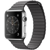 Apple Watch 42 mm Edelstahlgehäuse mit Lederarmband mit Schlaufe in grau - medium