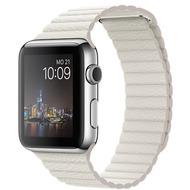 Apple Watch 42 mm Edelstahlgehäuse mit Lederarmband mit Schlaufe in weiß - large