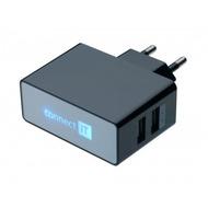 connect IT Ladegerät Dual USB Netzteil 2.1A/ 1A Schwarz