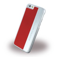 Corvette Silver Brushed Aluminium - Hard Cover für Apple iPhone 6 Plus/ 6S Plus, rot