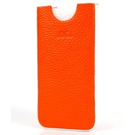 DC Chest Guti Ledertasche für iPhone 5/ 5S/ SE, orange-weiß