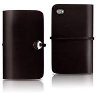 Evouni Handgefertigte Leder Schutzhülle für iPhone 4, schwarz