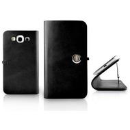 Evouni Handgefertigte Leder Schutzhülle für Samsung Galaxy S 3, schwarz
