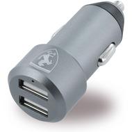 Ferrari Aluminium - USB KFZ Ladegerät - 2x USB auf Micro USB - 4800mA - Grau