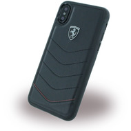 Ferrari Heritage Quilted, Leder Hardcover, Apple iPhone X, Schwarz