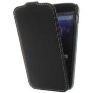 Flip-Style Kunstleder Tasche Vertikal m. Halterung für Google Nexus 4 /  LG E960 - Schwarz