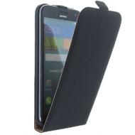 Flip-Style Kunstleder Tasche Vertikal m. Halterung für Huawei Ascend G7 - Schwarz