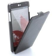 Flip-Style Kunstleder Tasche Vertikal m. Halterung für LG E973 /  E975 Optimus G - Schwarz