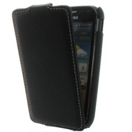 Flip-Style Kunstleder Tasche Vertikal m. Halterung für Samsung Galaxy Ace 2 i8160- Schwarz