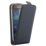 Flip-Style Kunstleder Tasche Vertikal m. Halterung für Samsung Galaxy S4 Mini i9190/  i9195 - Schwarz