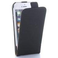 Flip-Style Kunstleder Tasche Vertikal mit Halterung für Apple iPhone SE, 5S, 5 - Schwarz