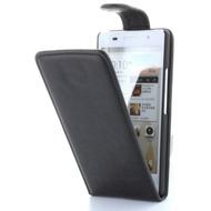 Flip-Style Kunstleder Tasche Vertikal mit Halterung für Huawei Ascend P6 - schwarz