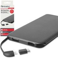 Fontastic Essential Power Bank 4in1 slim Kari 5.0 5000mAh sw integr. Micro-USB/ 8-Pin Kabel + Type-C + USB-A