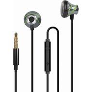 Fontastic In-Ear Stereo-Headset V410 3.5mm anthrazit/ grün Alu-Gehäuse, Volume- und Rufannahme-Taste,Mikrofon