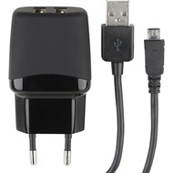 Fontastic Netzteil Green Twin-USB 1A schwarz inklusive MicroUSB Datenkabel 20cm