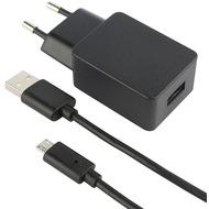Fontastic Prime Netzteil Compact USB 2.4A schwarz inklusive MicroUSB Datenkabel 150cm