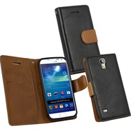 Fontastic PU Tasche Diary Twin schwarz für Samsung Galaxy S4 Mini